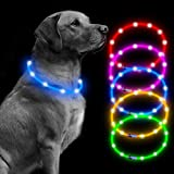 Led Dog Collar USB Rechargeable Glowing Pet Safety Collars Water Resistant Light up Improved Dog Visibility & Safety Adjustable Flashing Collar Best Gift for Dogs by Bseen (Blue)