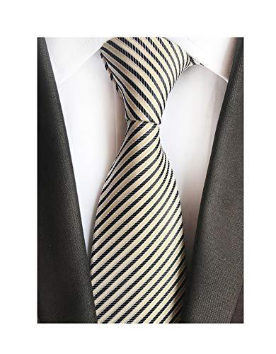 Mens Narrow Black Yellow Woven Silk Tie Fine Striped Regular Soft Business Work Boys Necktie