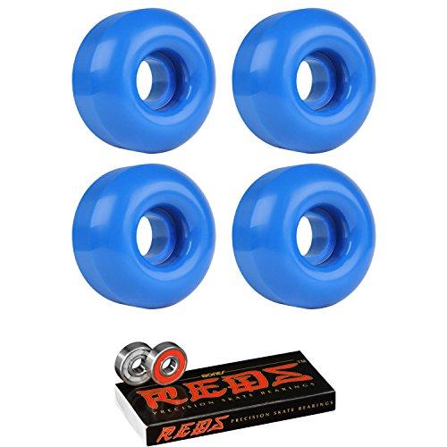 Skateboard Wheels 95A 53mm True Blue with Bones Reds Bearings ()