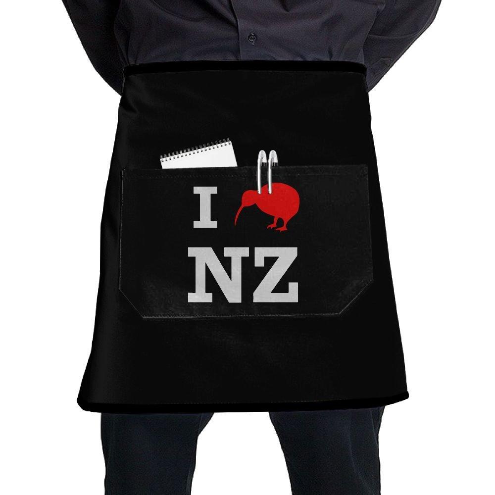Men Women I Love New Zealand (Kiwi) Adjustable Neck Bib Aprons With Pockets