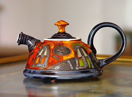 Cute Pottery Teapot, Ceramic Kettle for One. Colorful Pottery Gift, Artisan Teapot, Danko Handmade Pottery, Birthday Gift, Hostess Clay - Kettle Casserole