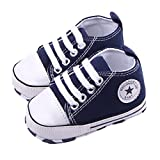 WAYLONGPLUS Infant Cute Canvas Sneaker Toddler Prewalker Anti-skid Soft Trainer Shoes (Blue, Size 12)
