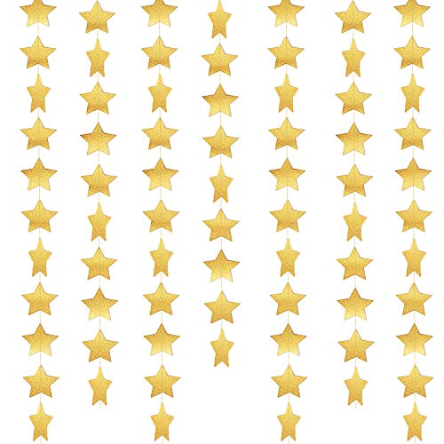 52 Feet Star Paper Garland Whaline Bunting Banner Hanging Decoration for Wedding Holiday Party Birthday, 2.75 Inches (Gold) -