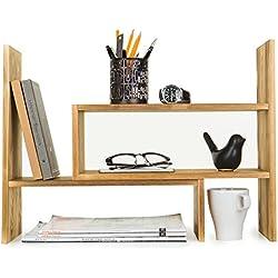 Dark Brown Wood Adjustable Desktop Storage Organizer Display Shelf Rack, Counter Top Bookcase