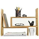 Dark Brown Wood Adjustable Desktop Storage Organizer Display Shelf Rack, Counter Top Bookcase Review