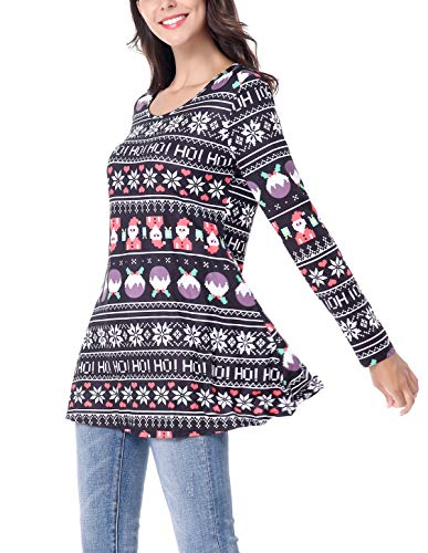 182177ac576 Women s Long Sleeve Christmas Santa Claus Print Pullover Flared Cocktail A  Line Party Tunic Dress Winter