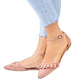 069d5fe7951 Womens D Orsay Pointed Toe Ankle Strap Flats Ballet Shoes Open Side Cutout  Sandals