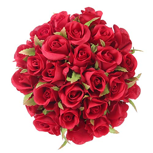 Easin Bridal Bouquet Silk Ivory Roses 26heads Wedding Bouquet for Room Home Hotel Party Event Decoration (Ivory) (red)