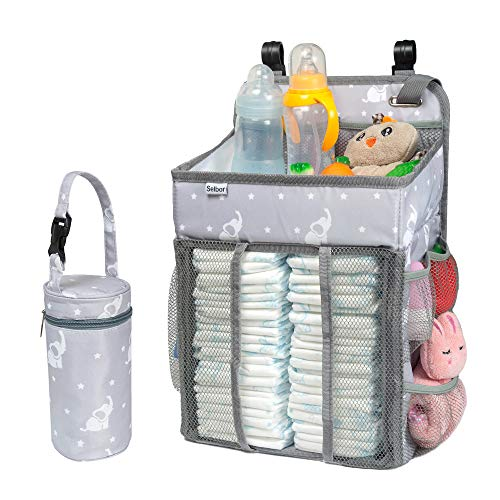 (Selbor Baby Nursery Organizer and Diaper Caddy, Hanging Diaper Stacker Storage for Changing Table, Crib, Playard Wall - Baby Shower Gifts for Newborn Boys Girls (Star Elephant, Bottle Cooler Included))