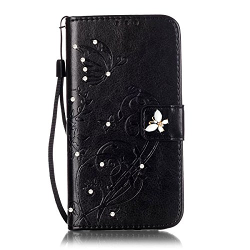Galaxy J7 2017 Case, Galaxy J7 Sky Pro, Galaxy J7 Perx case,ARSUE Vintage Emboss Butterfly Flower PU Leather Wallet Case with Card Slots & Stand Flip Cover for Samsung Galaxy J7 V 2017 - Black/Bling