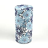 Ryu Mei Edo Sakura Yuzen Japanese Tea Canister | Imported Japanese Tea Storage Tin | 202E01 | Blue Sakura