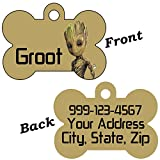 uDesignUSA Disney Guardians of the Galaxy Double Sided Pet Id Tags for Dogs & Cats Personalized For Your Pet (Baby Groot, Bone Shaped)