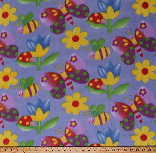 - Fleece Butterfly Butterflies Bumblebees Bees Ladybugs Bugs Beetles Insects Spring Flowers Tulips Kids Fleece Fabric Print by the Yard (4844F-11A)