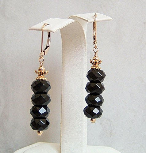 Black Faceted Rondelle Simulated Onyx Gold Filled Leverback Earrings Her Special Day Gift Idea