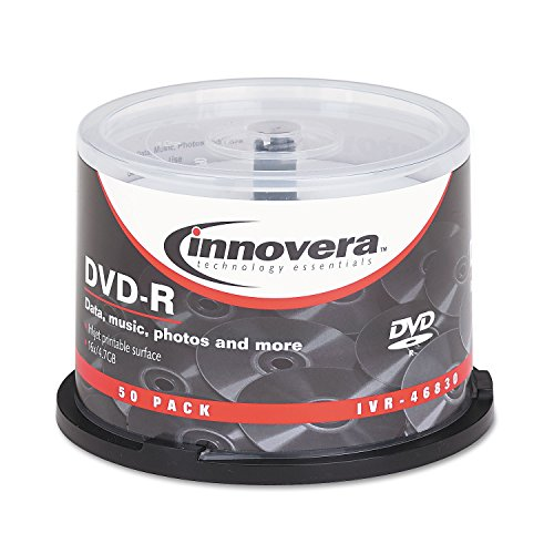 Innovera 46830 DVD-R Discs, Hub Printable, 4.7Gb, 16X, Spindle, Matte White, 50 per Pack by Innovera