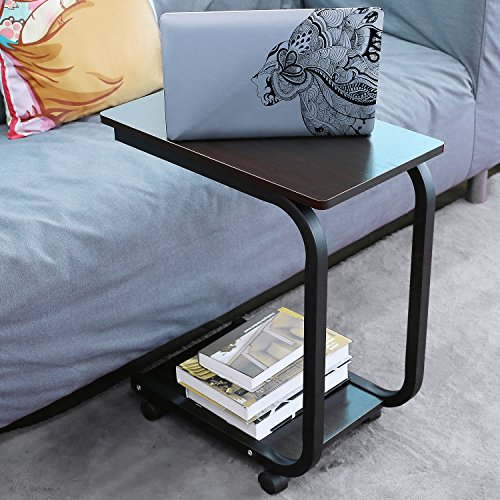 homfa u shaped side table computer tray sofa couch end. Black Bedroom Furniture Sets. Home Design Ideas