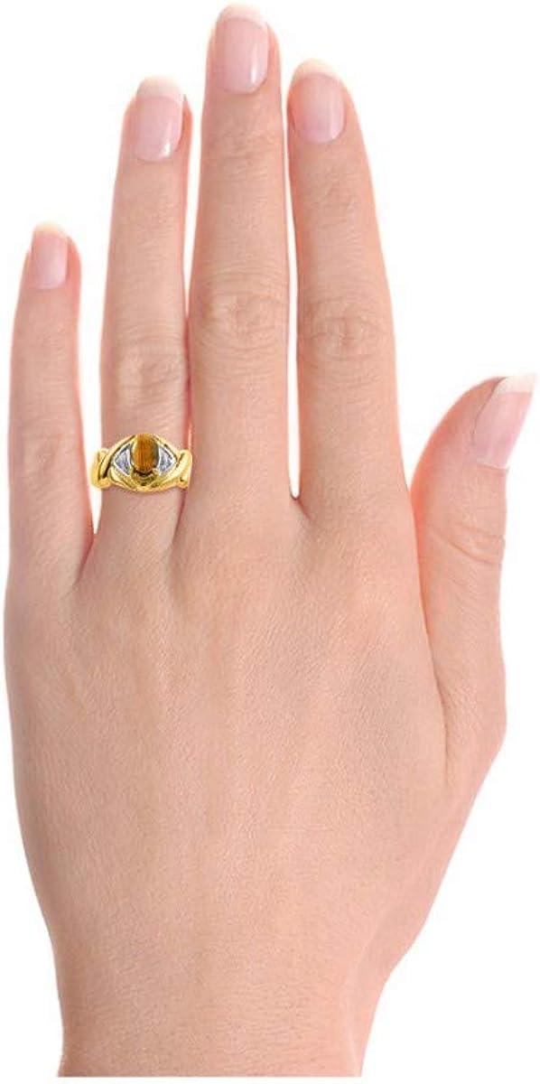 November Birthstone RYLOS Simply Elegant Beautiful Tiger Eye /& Diamond Ring