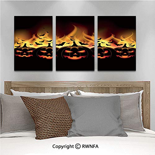 3Pc Creative Wall Stickers Happy Halloween Image with Jack o Lanterns on Fire with Bats Holiday Decorative Bedroom Kids Room Nursery Dinning Wall Decals Removable Art Murals,19.7