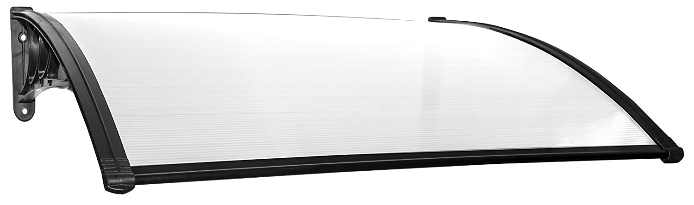 Marquise de Porte dentr/ée en Verre Polycarbonate transparent Schulte Auvent Fixation en plastique noir  120x80 cm