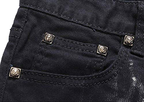 Slim Fit Semplice Uomo Pantaloni Jeans Denim Straight Chino Stampa Nero Wolf Style4 Ragazzi Stile Trend gFx0pwnxW