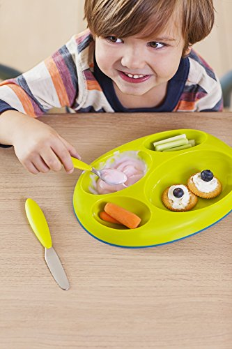 Boon Platter Edgeless Nonskid Divided Plate, Blue/Orange/Green includes 3 pieces by Boon (Image #1)