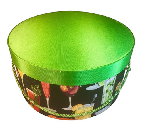 HAT BOX BY L'ARISANE TROPICAL AND FANCY DRINKS ON DESIGNER FABRIC WITH DEEP CARIBBEAN GREEN Girl Hat Box