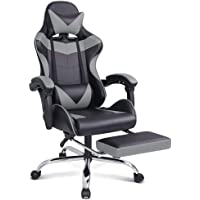 ALFORDSON Computer Gaming Chair with Massage Lumbar Cushion and Footrest Swivel Recliner Leather Ergonomic Home Desk…