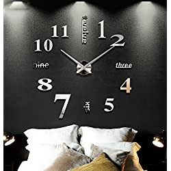 ZHENAI Walled Wall Clock Creative Decoration Big Hanging Table Living Room With Restaurant Wall Background Wall Ornaments Pendant Office (Color : A)