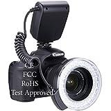 Lightdow RF-550D 48 Pieces Macro LED Ring Flash Light with LCD Screen Display for Canon Nikon Sony Pentax Olympus Panasonic DSLR