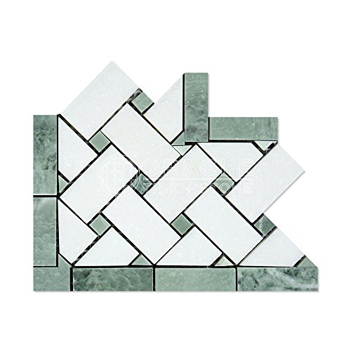 Thassos White Greek Marble Basketweave Border Corner Tile with Ming Green Marble Dots, Polished