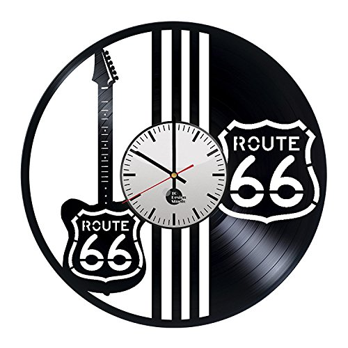 Route 66 Black White Guitars Vinyl Record Wall - Music wall art