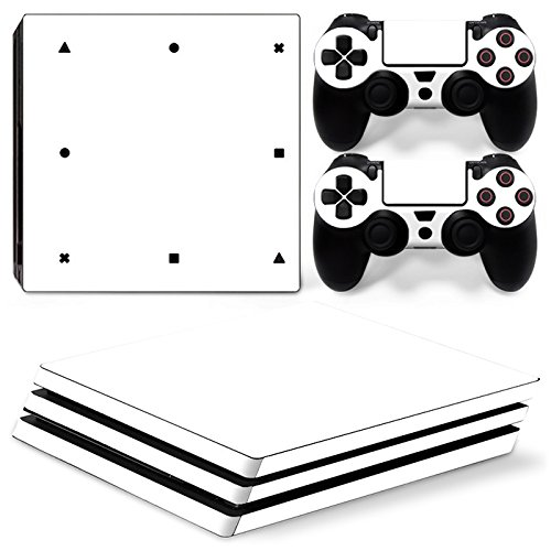 Gam3Gear Vinyl Decal Protective Skin Cover Sticker for PS4 Pro Console & Controller - White