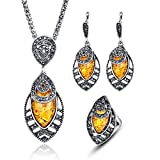 LUYUAN JEWELRY Vintage Women Oval Multi Colors Amber Pendant Jewelry Set, Fashion Wedding Bridal Jewelry Set of 3 - Yellow+Ring#9