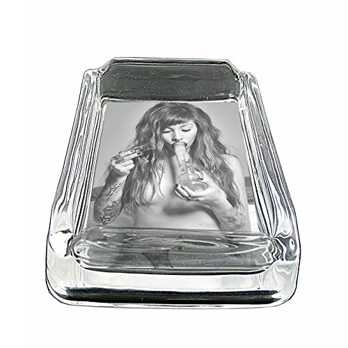Tattoo-Girls-S4-Glass-Square-Ashtray-4x3-Sturdy-Cigarette-Smoking-Mary