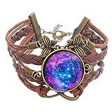 MJartoria Wax Leather Rope Braided Butterfly Infinity Symbol Galaxy Glass Cabochon Charm Bracelet Purple