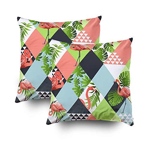 Jung Tropical Print - Pillows Case Standard Size,Exotic beach trendy seamless pattern patchwork illustrated floral vector tropical banana leaves Jungle pink flamingos Wallpaper print background mosaicCapsceoll 16x16 Pack o
