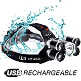 Brightest and Best LED Headlamp 10000 Lumen flashlight - IMPROVED LED, Rechargeable 18650