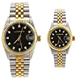 Gift w/ Box Luxury Pair of Couples Lovers Women Men Diamond Stainless Steel Automatic Self Wind Date Watch Black Sliver Gold