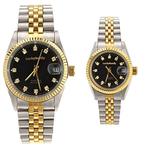Gift w/ Box Luxury Pair of Couples Lovers Women Men Diamond Stainless Steel Automatic Self Wind Date Watch Black Sliver Gold by jijia