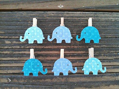 12 Blue Elephant Mini Clothespins Baby Shower Decoration ...