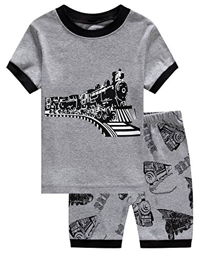 Family Feeling Train Little Boys Shorts Set Pajamas 100% Cotton Clothes Toddler Kid 2T