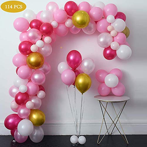 (Balloon Garland Kit 110 Pcs Pink & White & Rose Red & Gold Balloons for Wedding Baby Shower Party Decorations Birthday Anniversary Graduation Centerpiece Backdrop Decorations)