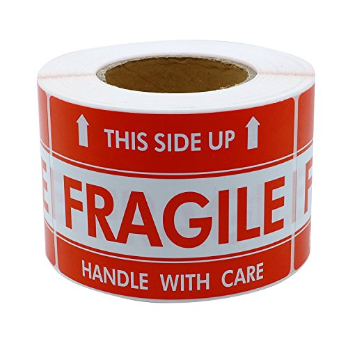 ZiKON, Fragile Stickers 1000 labels - This Side Up - 3 x 5 Inches - Handling Labels (2 Rolls, 500/roll)