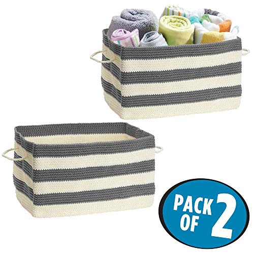 (mDesign Soft Hand Knit Closet Storage Organizer Basket Bin with Built-in Handles, for Child/Baby Kids Room, Nursery, Playroom - Large Rectangular Shape - Pack of 2, Stripe Pattern in Gray/Cream )