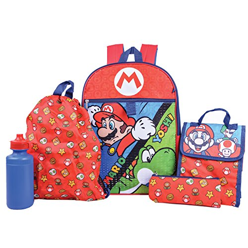 Super Mario Backpack Combo Set - Nintendo Super Mario 5 Piece Backpack School -