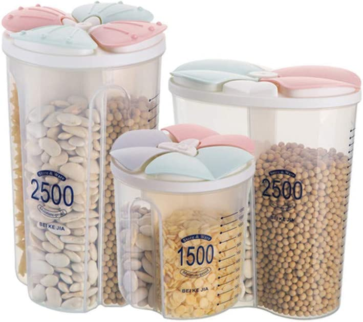 Getreide Aufbewahrungsbox A Gitter Transparente Aufbewahrungsbox,Rockengetrocknete Lebensmittel Container-Box Eaylis Bl/ütenblatt versiegelte Dosen