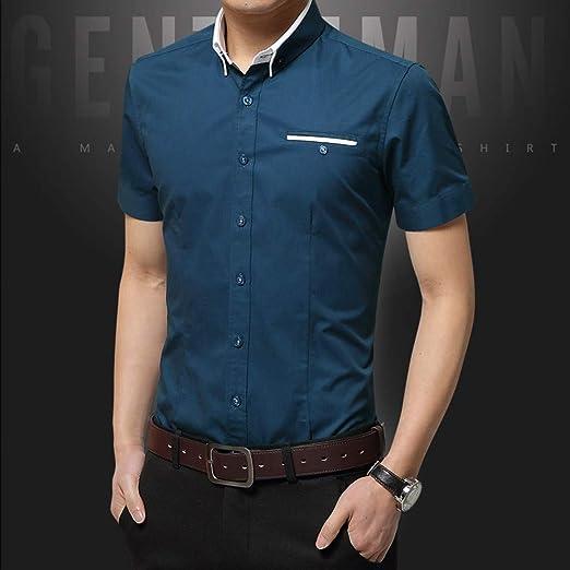 NSSY Camisa de Hombre Camisa de Verano para Hombres Ropa de Vestir para Hombre Sólido Slim Fit Ropa de Manga Corta para Hombres, Asiático: Amazon.es: Hogar