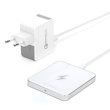 GMYLE Qi Cargador Inalámbrico Rápido Aluminio para Samsung Galaxy S7 / S7 Edge/Note 5 / S6 Edge Plus - Silver Metallic/Glaciar Blanco (Adaptador AC de ...