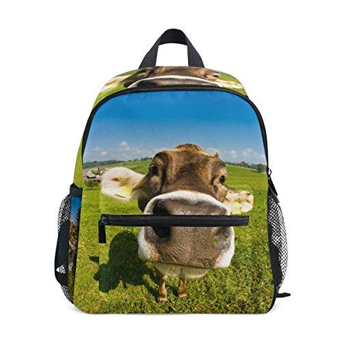 Mini Kids Backpack Daypack Swiss Cow Fisheye Nose Shot Pre-School Kindergarten Toddler Bag for Travel Girls Boys ()