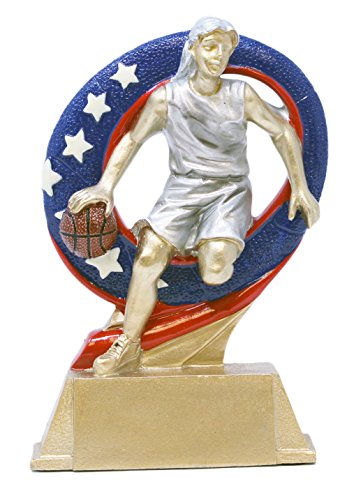 Decade Awards Basketball Superstar Trophy, Female - Hoops Award - 6.5 Inch Tall - Customize Now